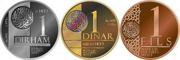 Silver-dirham Guld-dinar och Koppar-Flous, stöpta för första gången sedan Kalifatets fall, på initiativ av Shaykh Dr Abdalqadir as-Sufi.