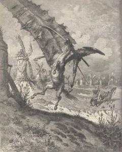 Don Quijote i kamp med Väderkvarnen