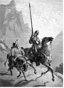 Don Quijote med sin lojale väpnare Sancho Panza