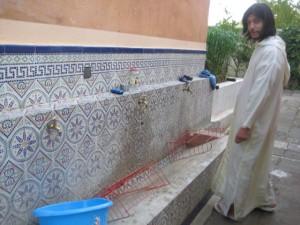Tvagningsfaciliteterna på madrasan