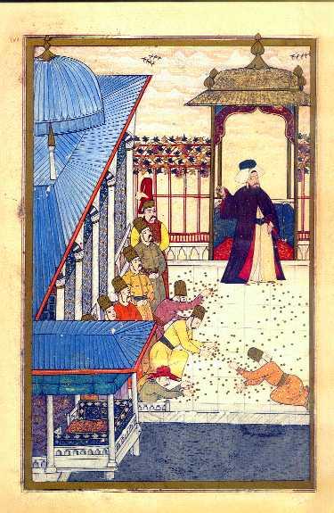 Sultanen sprider guldmynt till folket